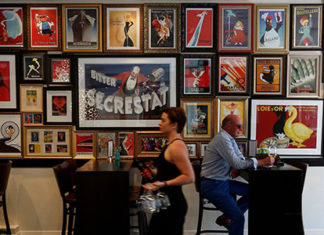 wine bar with art posters
